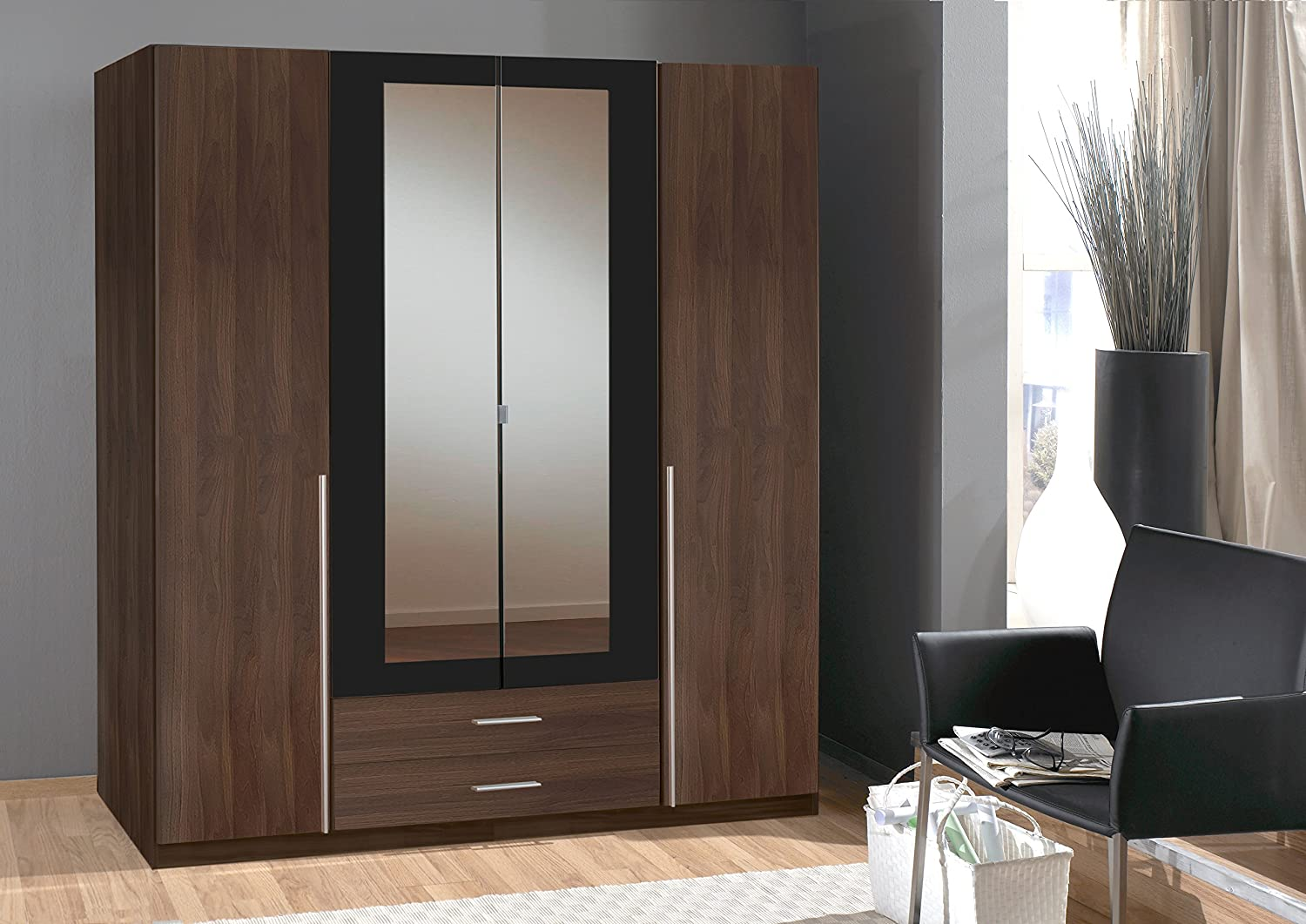 Bnew German Made Wardrobe In  Doors With Mirrors In Walnut White Bedroom  Cm White Amazon Co Uk Kitchen Home