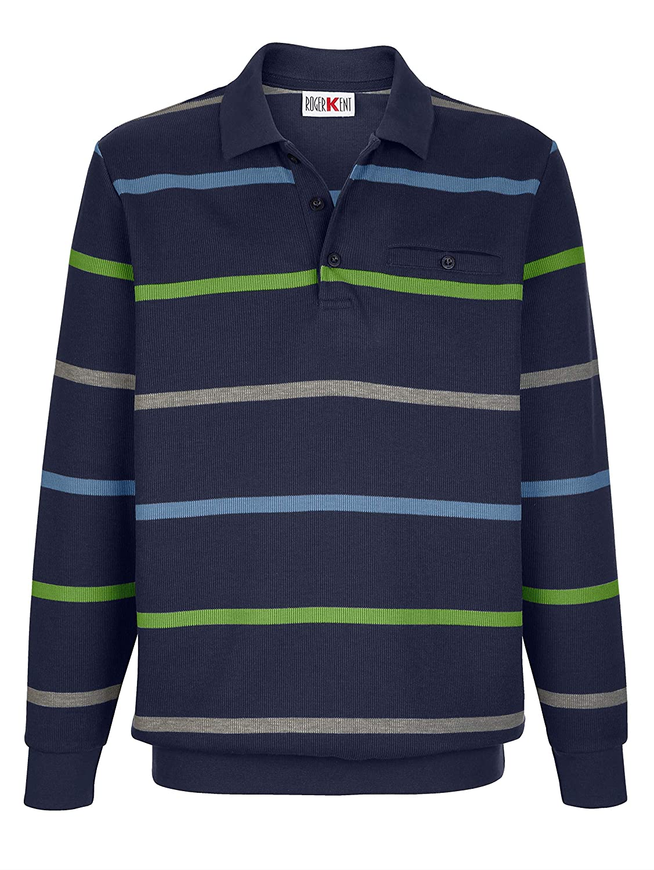 Roger Kent Herren Sweatshirt Baumwoll-Mischung mit Polokragen
