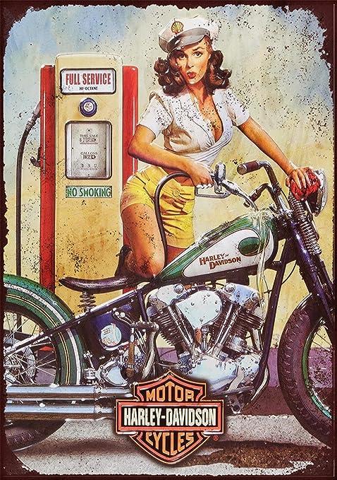 25,4/x 20,3/cm r/étro Harley Davidson 4 plaque en m/étal Imprim/é sur Aluminium bross/é en couleur