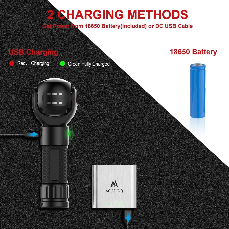 recargable COB de senderismo Linterna LED port/átil base magn/ética para el hogar linterna giratoria de emergencia con 7 modos de luz