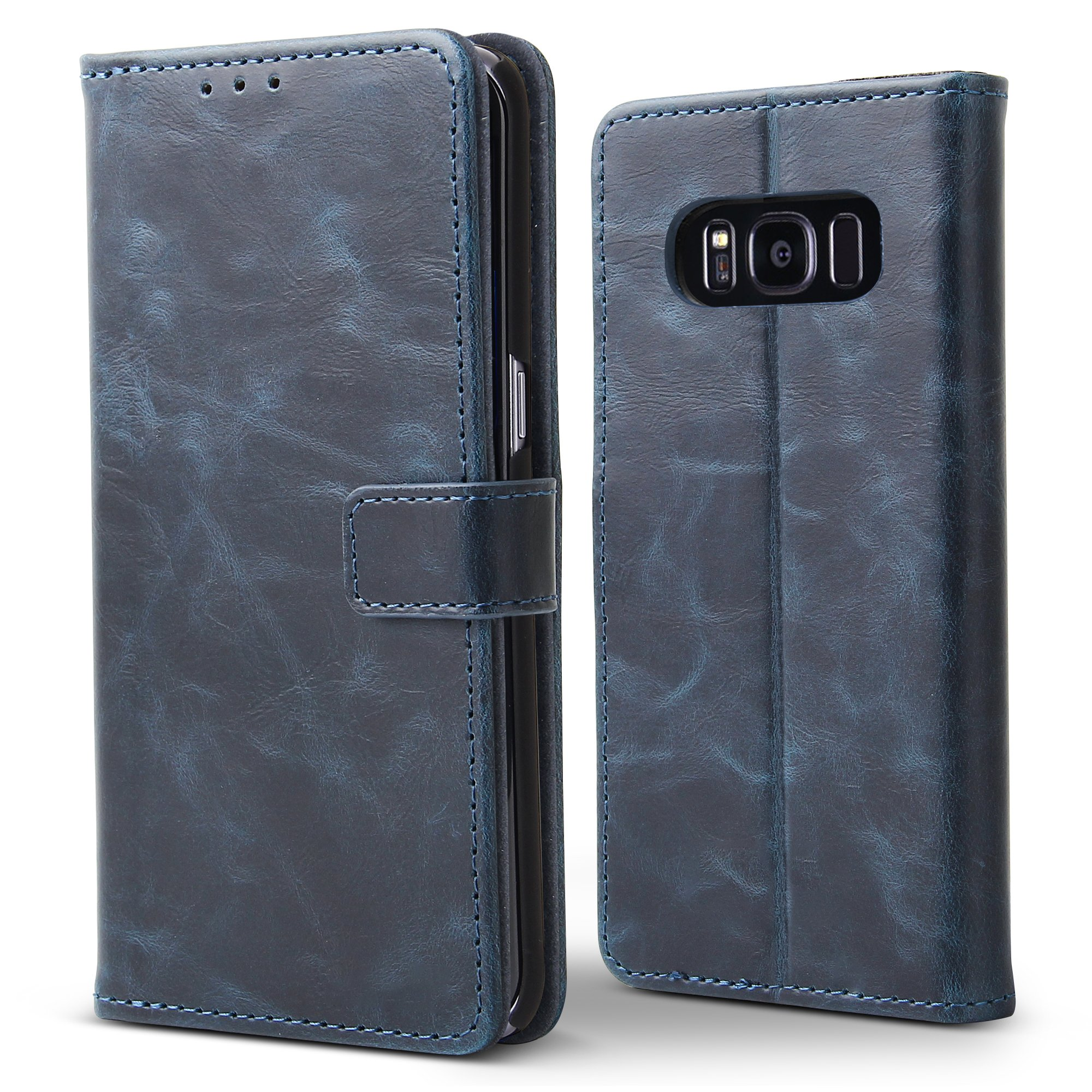 Galaxy S8 Case, B BELK Premium Retro Vintage Leather Classic Magnetic Flip Wallet Case with Hard PC Cover Kickstand Card Holder for Samsung Galaxy S8-5.8'', Blue
