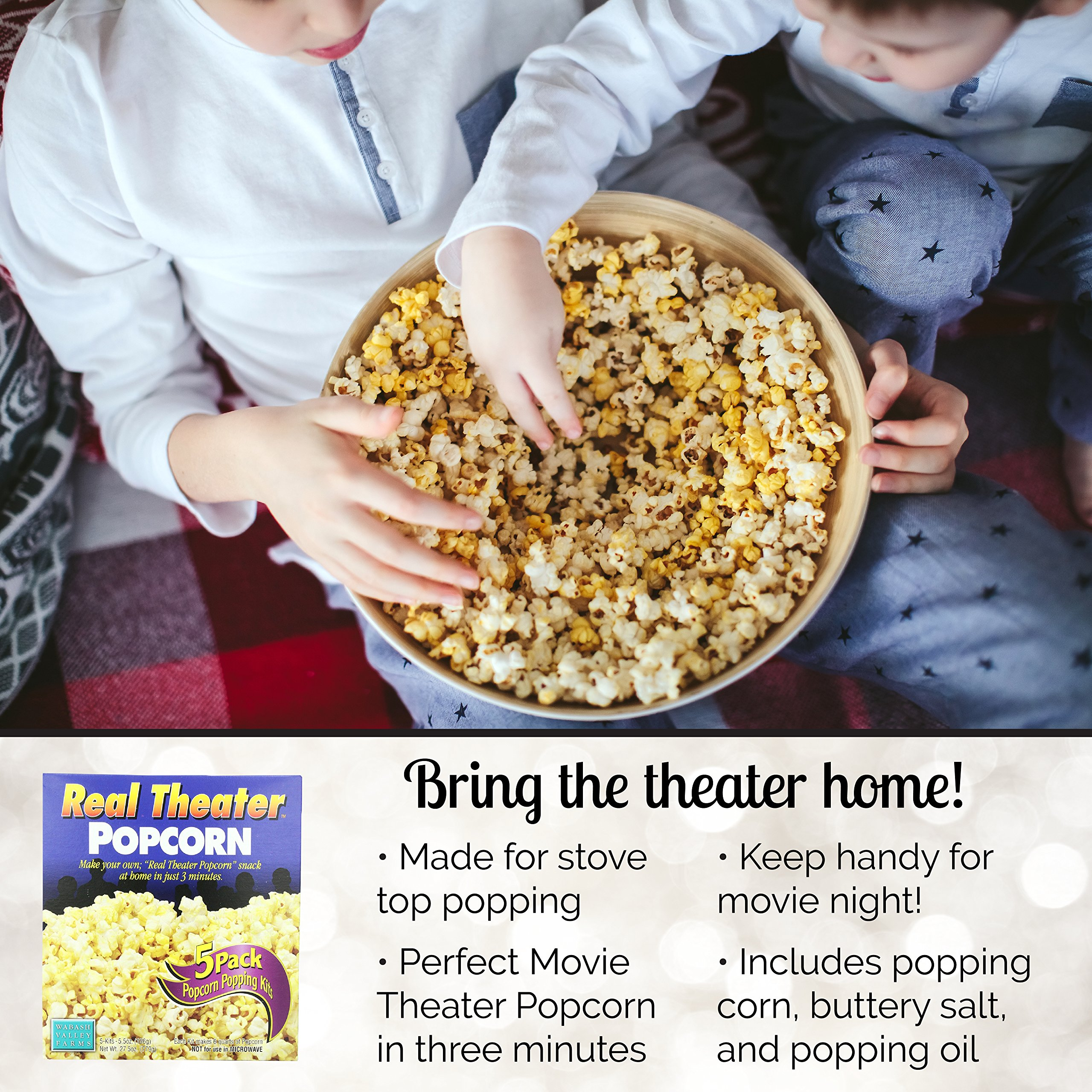 Wabash Valley Farms Real Theater Popcorn Popping Kit - Each Popping Corn Set Includes Gourmet Movie Theater Popcorn, Buttery Salt, and Popping Oil - Perfect for Movie Nights and More - 25 Pack by Wabash Valley Farms (Image #1)