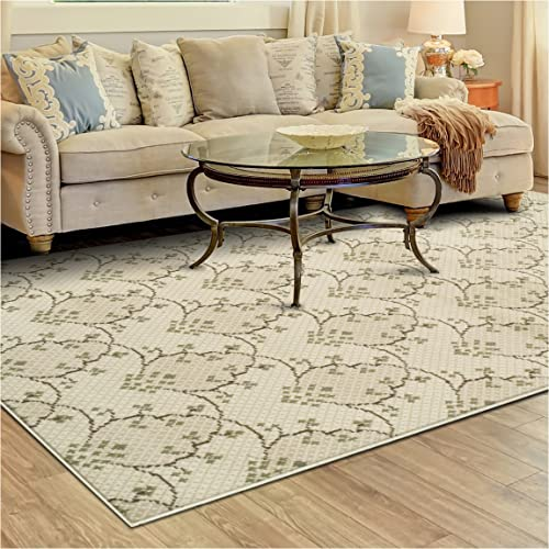 Superior Aberdeen Collection Area Rug, 8mm Pile Height with Jute Backing, Geometric Crosshatch Nature Motif, Fashionable and Affordable Woven Rugs – 8 x 10 Rug