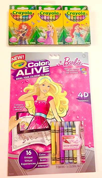 Amazoncom Barbie Crayola Color Alive Coloring Book 2pce Bundle - Crayola-color-alive-barbie