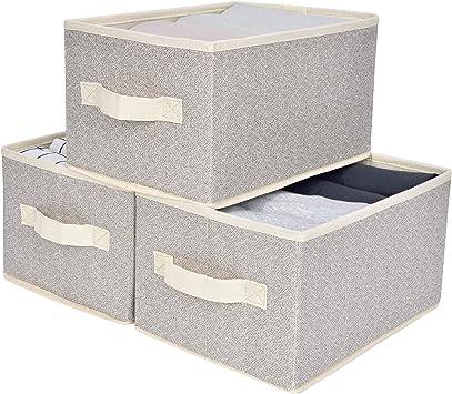 Canvas Storage Bins for Closet Shlves 3-Pack StorageWorks Storage Bins Baskets for Organizing with Handles Medium Kids Storage Basket for Shelves