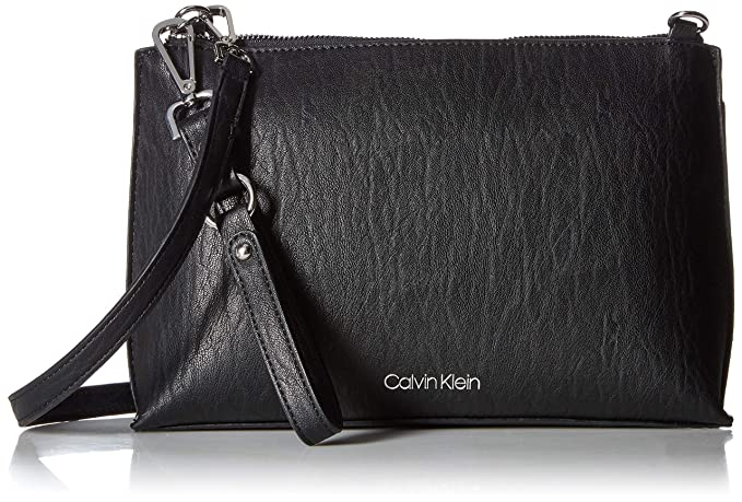 5ceffa90e Calvin Klein Sonoma Key Item Novelty Crossbody, black/silver: Amazon ...