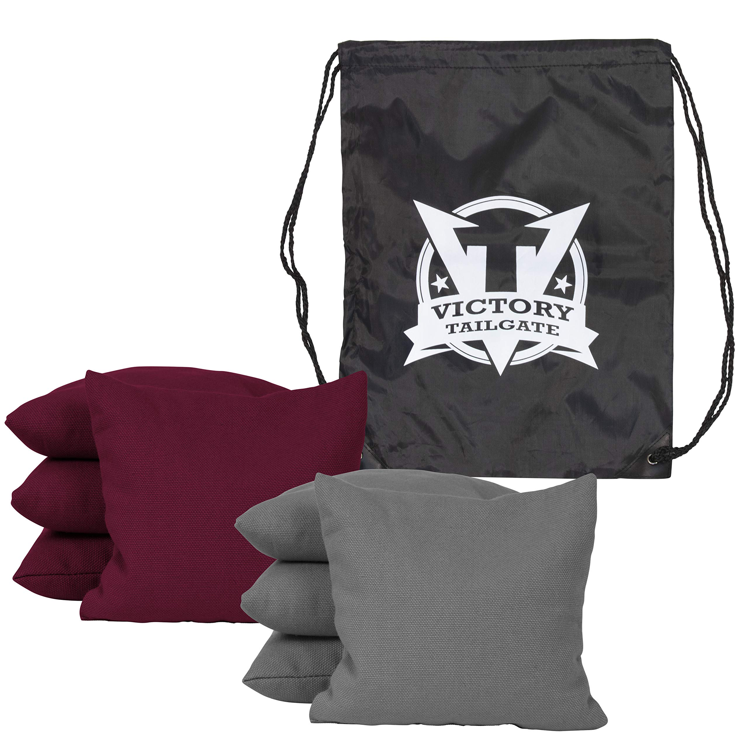 Victory Tailgate 8 Colored Corn Filled Regulation Cornhole Bags with Drawstring Pack (4 Gray, 4 Burgundy)