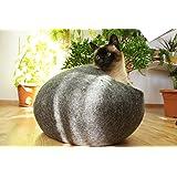 猫ベッド、猫ハウス 、ウールフェルト、ハンドメイド 。 ダークグレー色の。サイズ: M(中) Kivikis製。