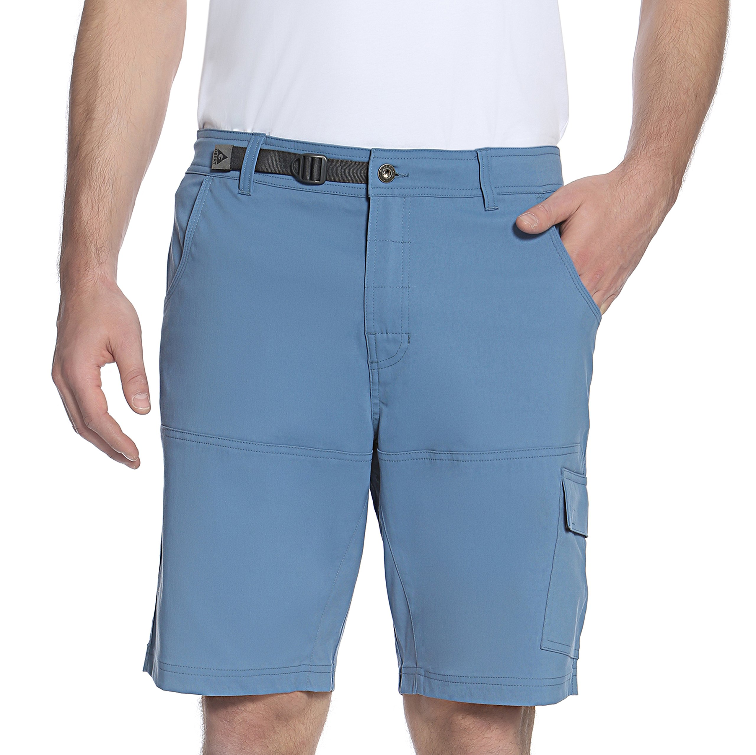Gerry Men's Venture Flat Front Stretch Cargo Short (Canal Blue, 36) by Gerry