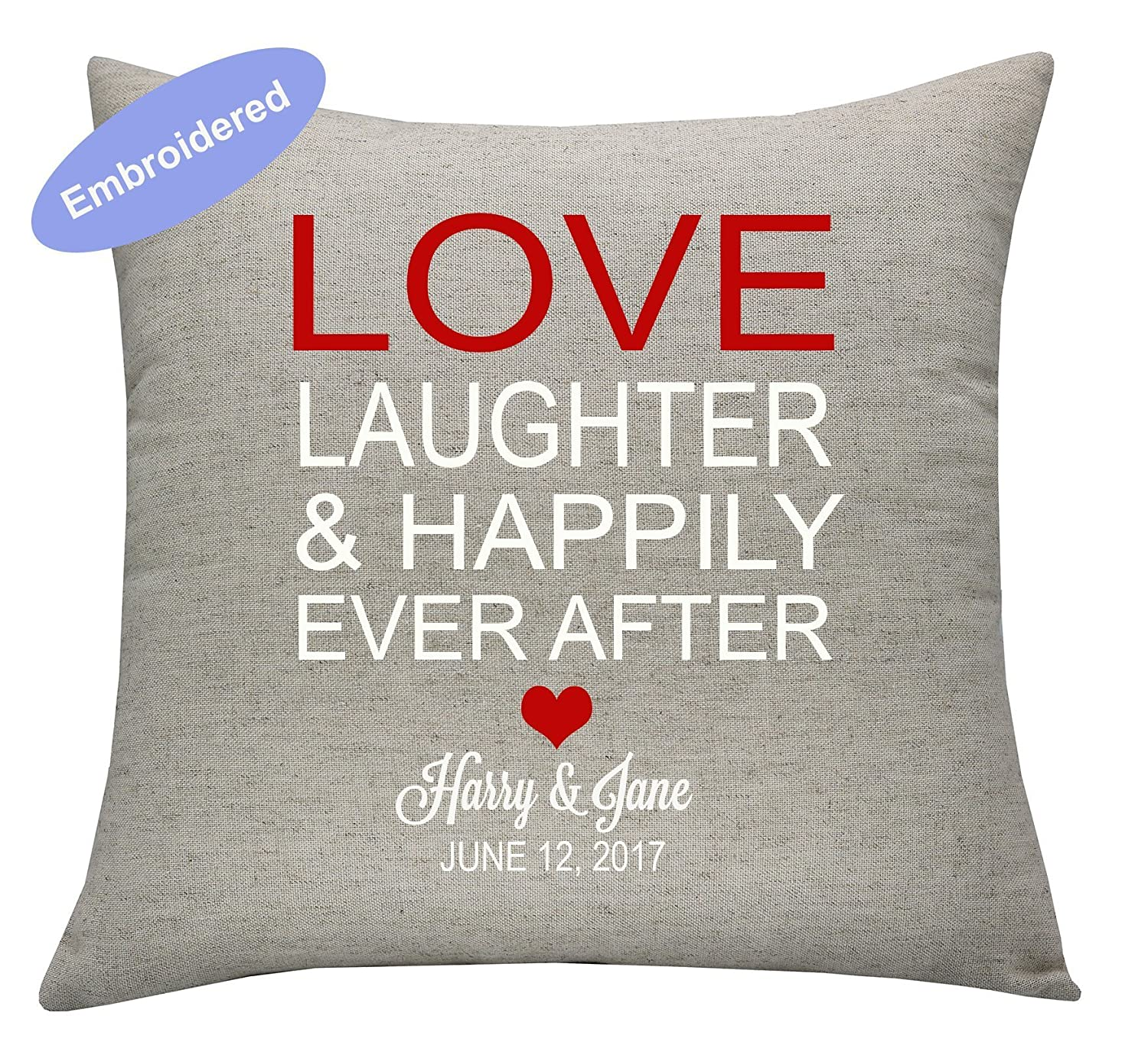 YugTex Cushion Cover Embroidered love, laughter, and happily ever after,christmas gift,personalized Cushion Cover,wedding gift,wedding shower gift,housewarming gift , Rehearsal Dinner Sign ,