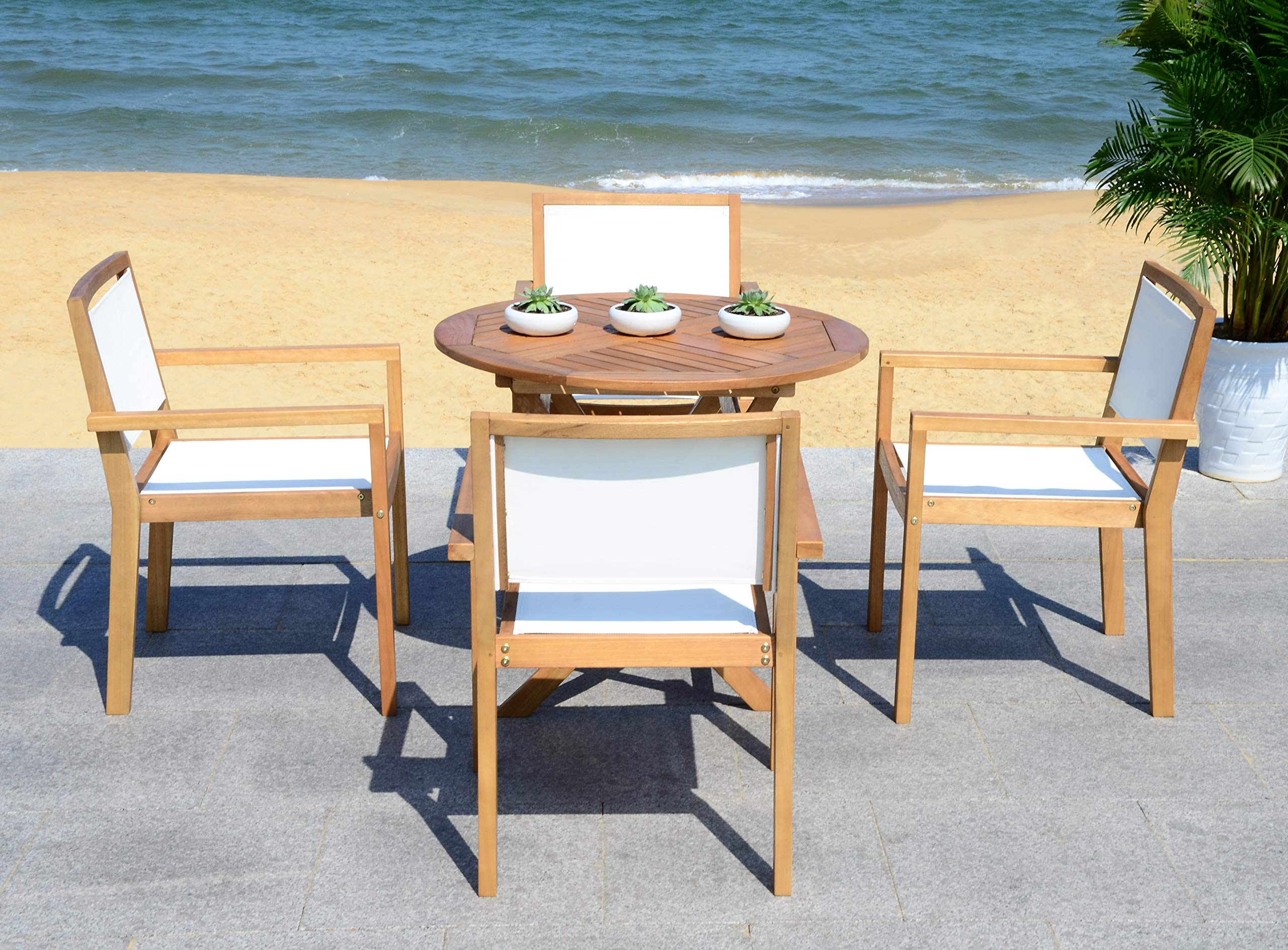 Safavieh PAT7041A Collection Chante Teak 35.4'' Round Table 5 Piece Outdoor Dining Set