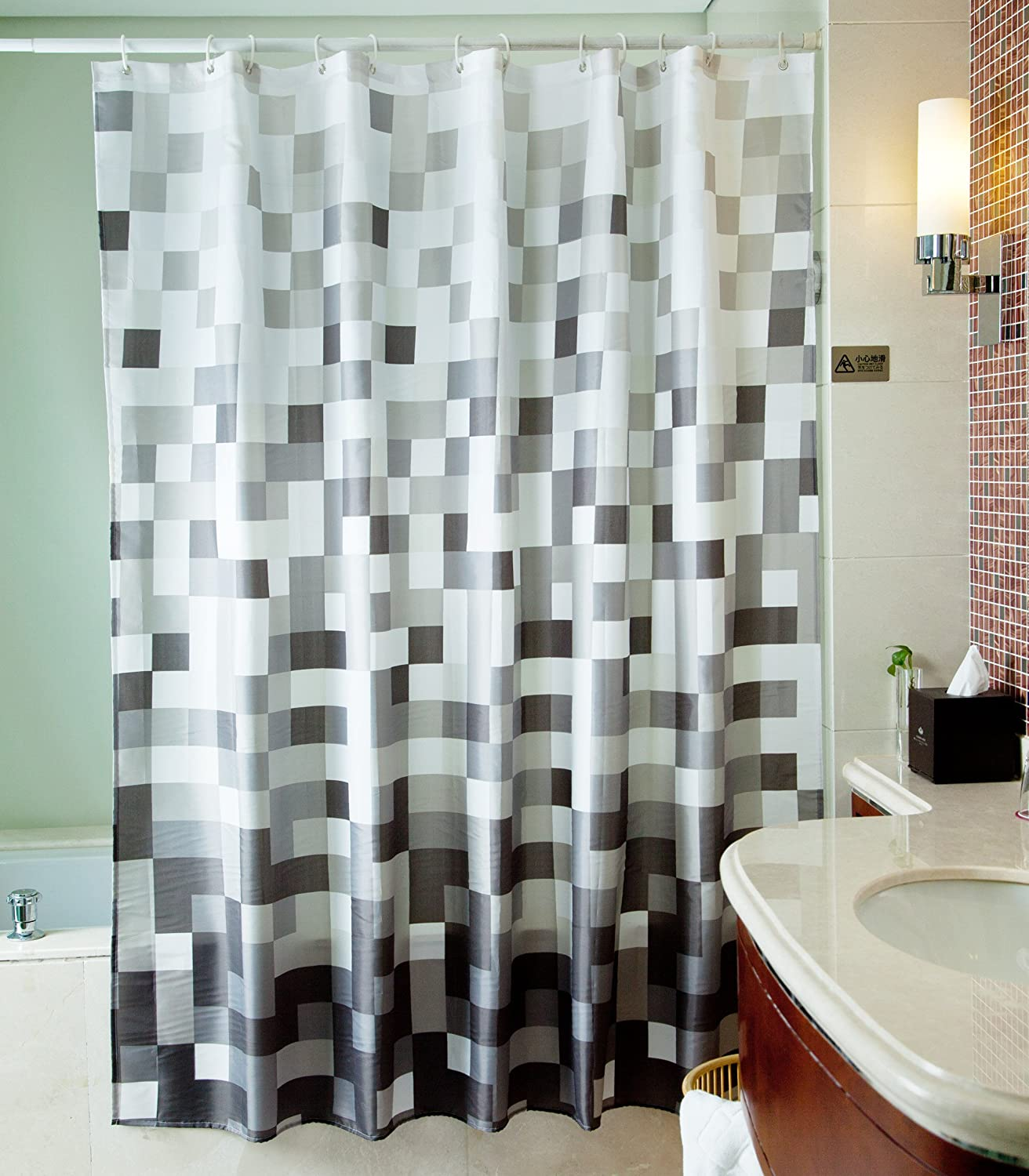 Delightful Amazon.com: Sfoothome Polyester Fabric Shower Curtain Waterproof/ No More  Mildews Bathroom Shower Curtains With Shower Cap (Gray Square 2): Home U0026  Kitchen
