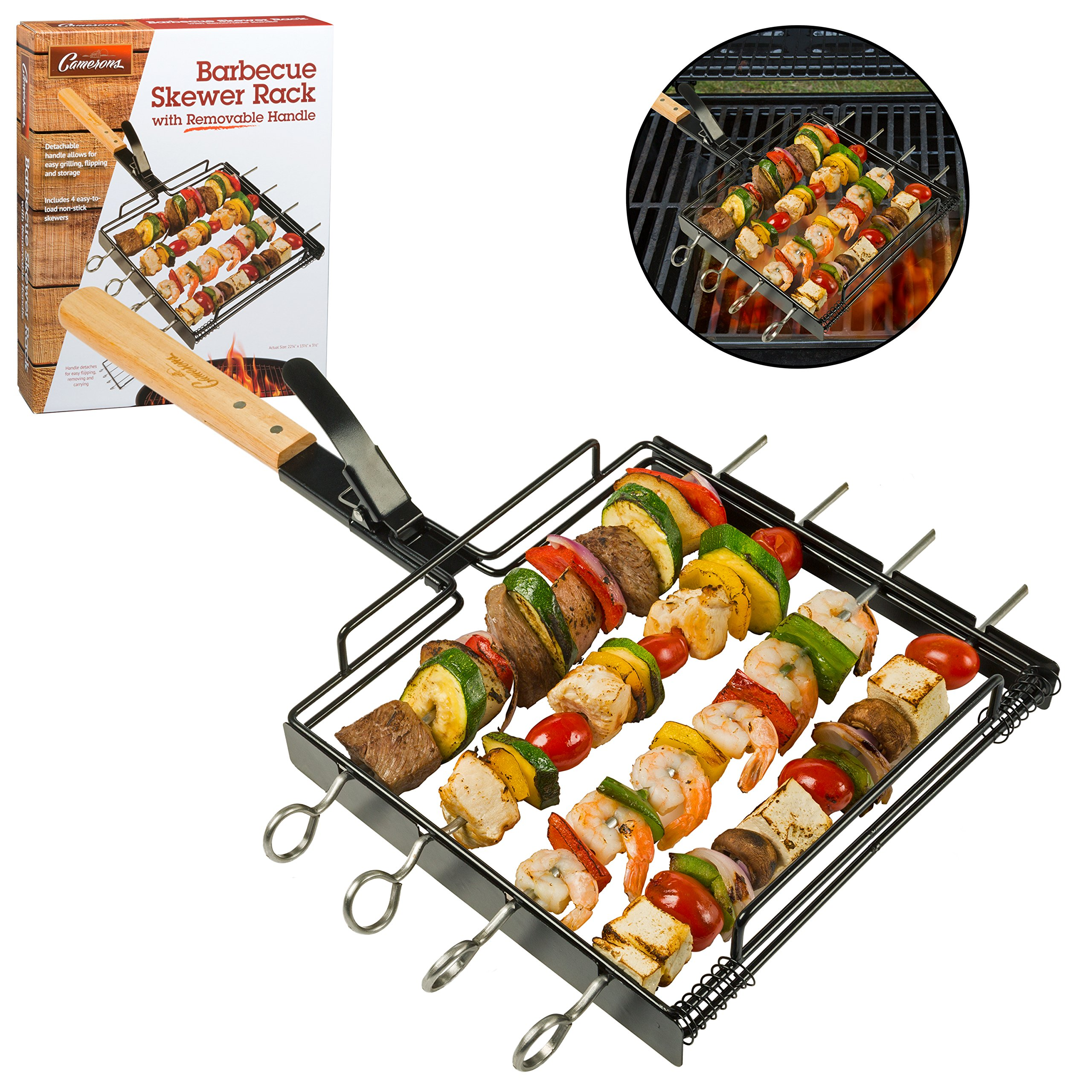 Camerons Products Skewer Rack Set with Removable Handle - Non-Stick Stainless Steel for Grilling Barbecue Shish Kabobs, BBQ Meat, Vegetables, Fruit - (1 Rack, 4 Skewers) by Camerons Products