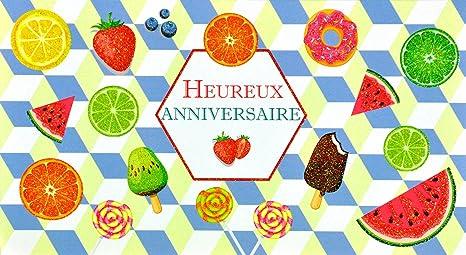 afie 69 – 4208 tarjeta feliz cumpleaños purpurina cítricos limón verde naranja sandías Gola Myrtille Kiwi