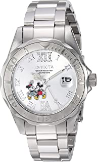 Invicta Womens Disney Limited Edition Quartz Stainless Steel Casual Watch, Color:Silver