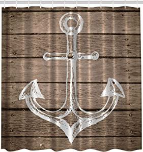 Afagahahs Anchor Shower Curtain Nautical Decor Hand Drawing Boating Sketch Taupe Rustic Wooden Planks Coastal Home Buoy Kids Decor Bath Textile Polyester Fabric Machine Washable Brown White