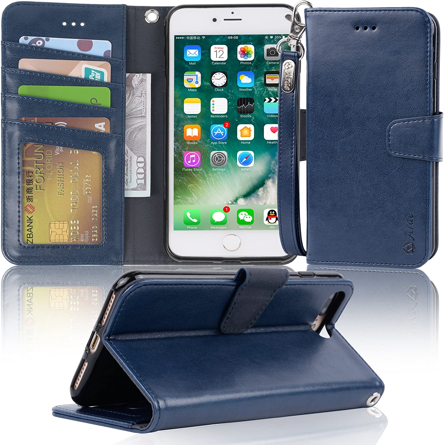 Arae Case for iPhone 7 Plus/iPhone 8 Plus, Premium PU Leather Wallet Case with Kickstand and Flip Cover for iPhone 7 Plus (2016) / iPhone 8 Plus (2017) 5.5 inch - navyblue