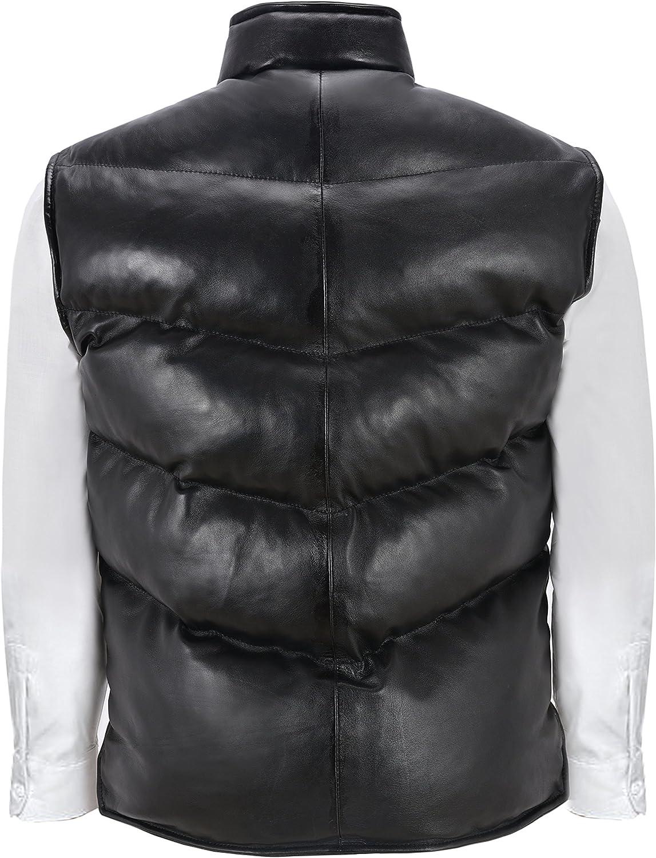 Smart Range Mens Puffer Leather Waistcoat Black Padded Lambskin Leather Casual Vest Style