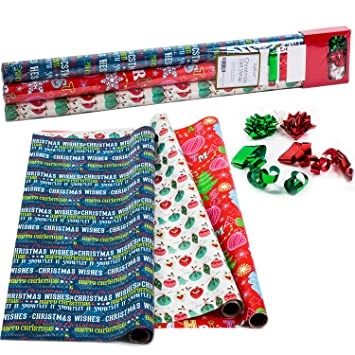christmas wrapping paper holiday gift wrap premium gift wrap in 3 festive styles - Cheap Christmas Wrapping Paper