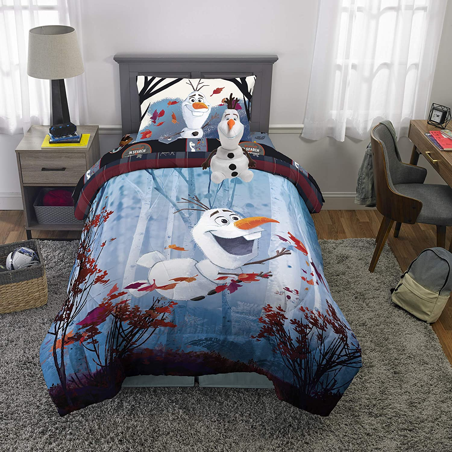 Franco Kids Bedding Super Soft Comforter with Sheets and Plush Cuddle Pillow Set, 5 Piece Twin Size, Disney Frozen 2 Olaf