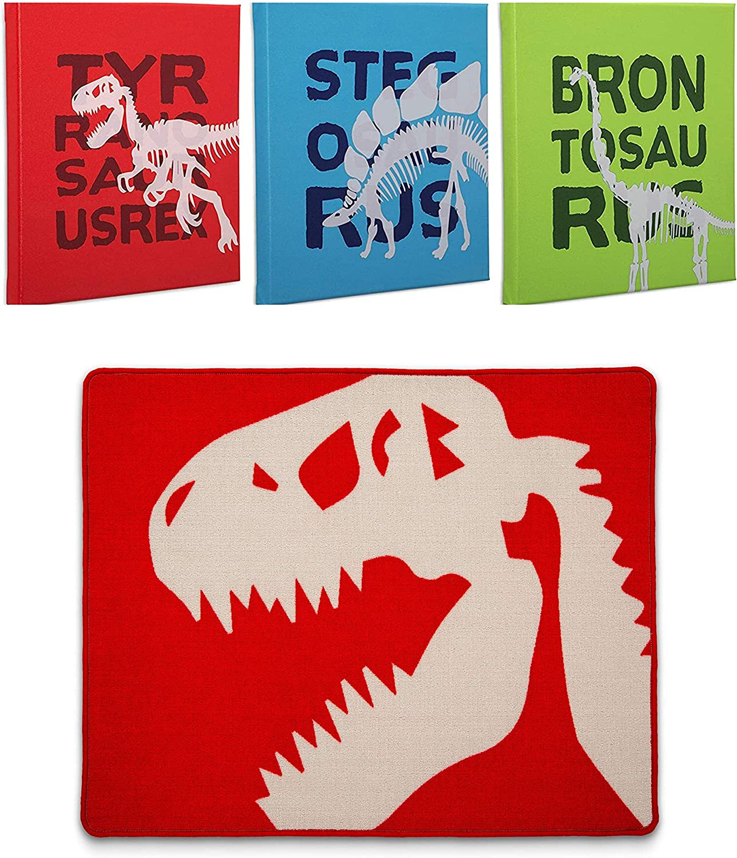 Delta Children Boys Dinosaur Room Decor | Includes 3-Piece Canvas Wall Art Set & Non-Slip Area Rug