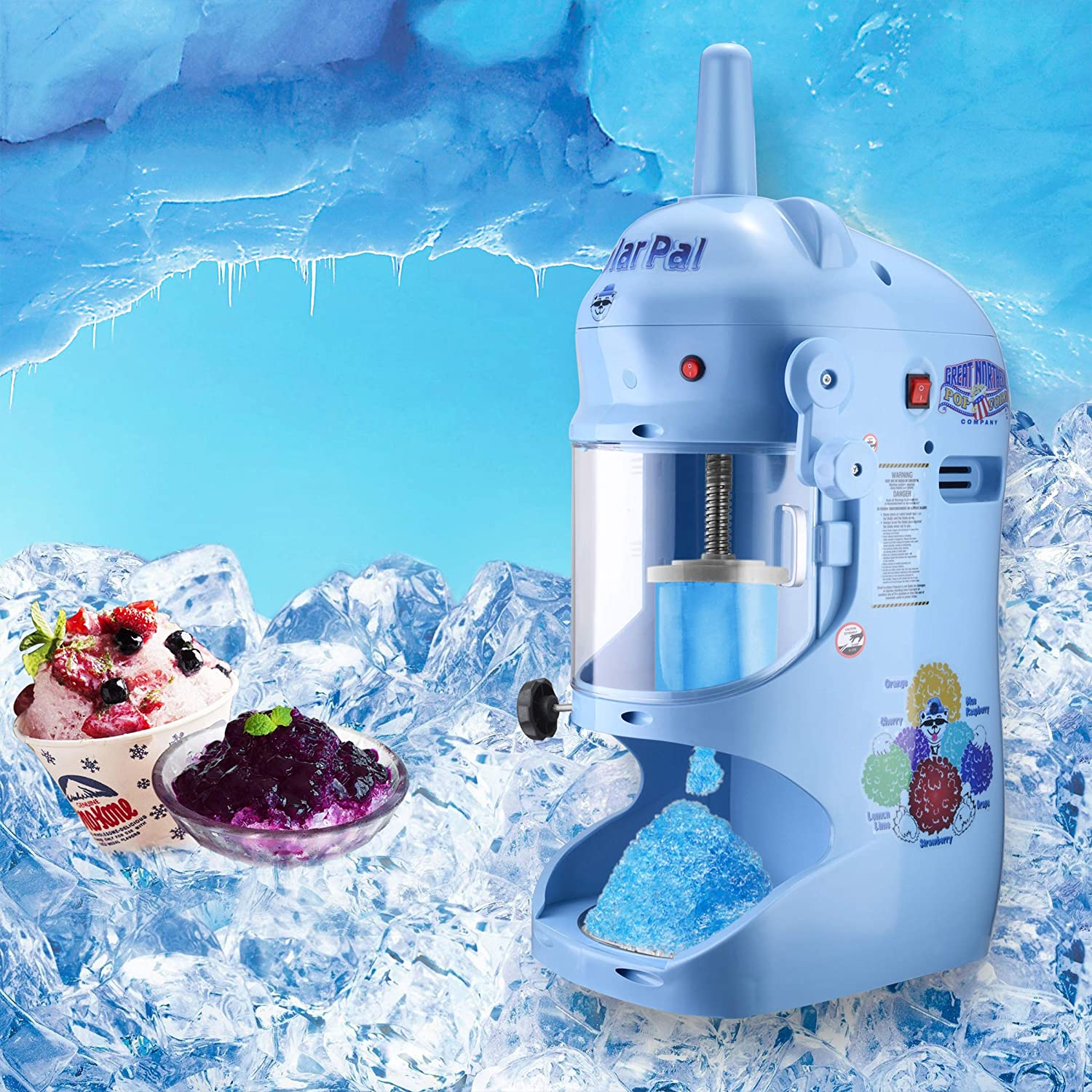 Great Northern 83-NA6065 Northern Blue Hawaiian Shaver Professional Polar Pal Ice Crusher Model with Safety Shield 120V Electric Snow Cone Machine