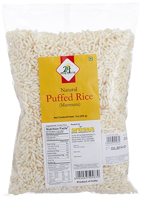 24 Mantra Organic Puffed Rice, 200g Puffed Snacks at amazon