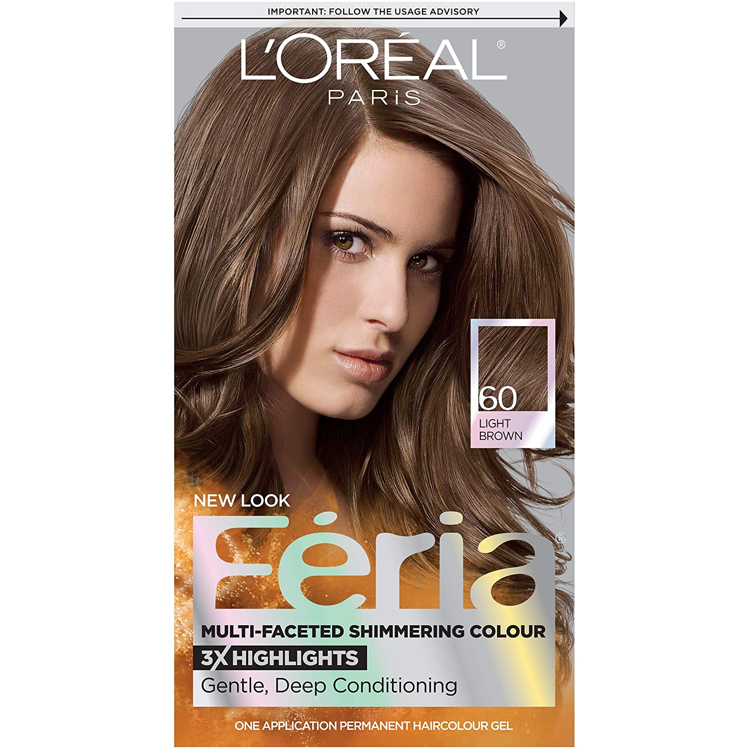L'Oréal Paris Feria Multi-Faceted Shimmering Permanent Hair Color, 60 Crystal Brown (Light Brown), 1 kit Hair Dye