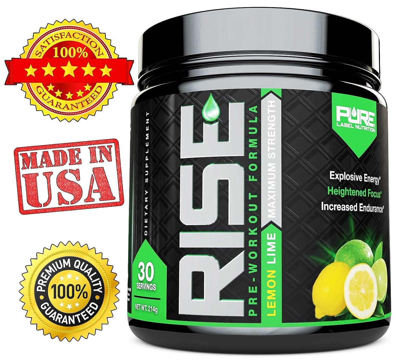 RISE Pre Workout, Intense Energy Drink, Caffeine Powder, Nitric Oxide, Beta  Alanine, Agmatine