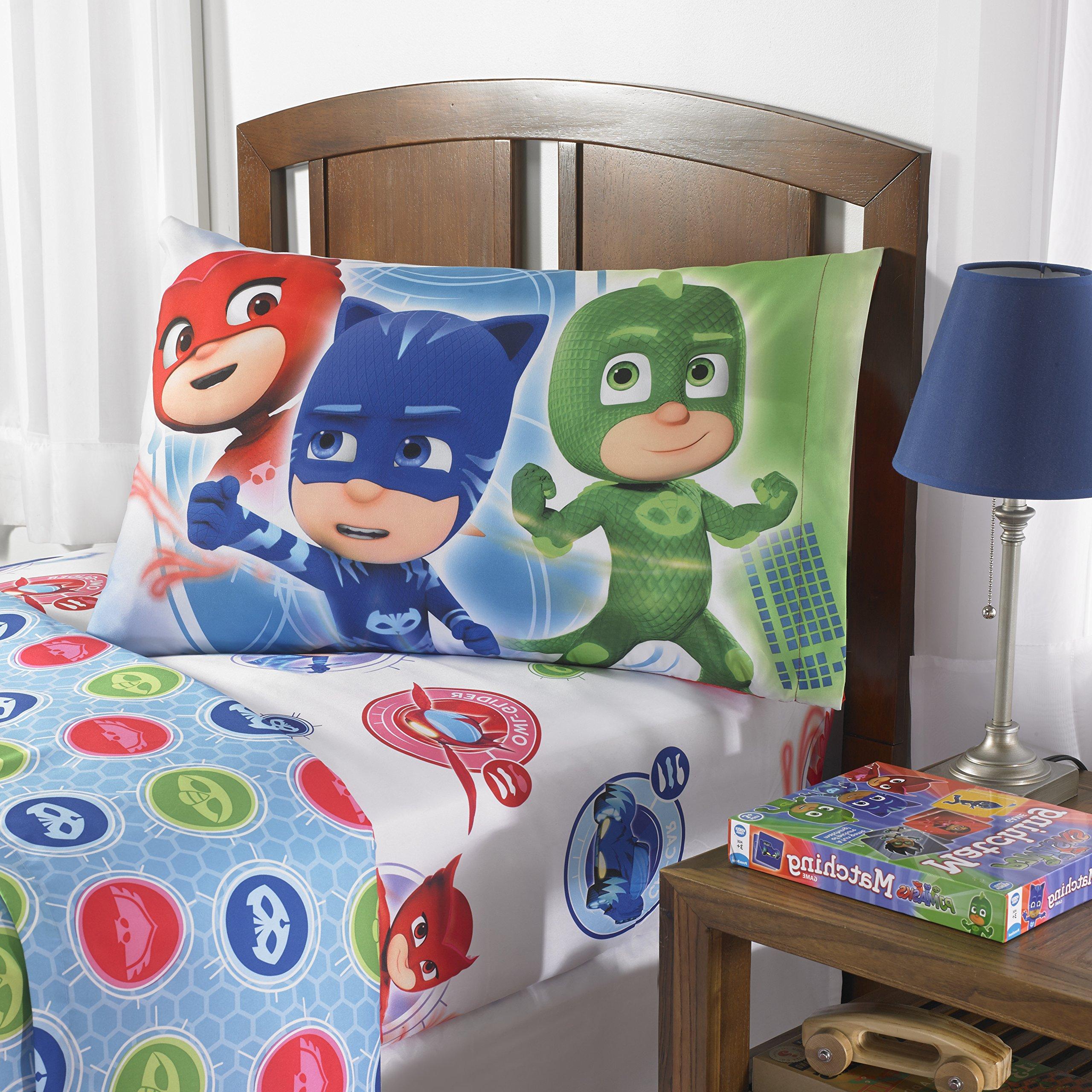 Ln 3 Piece Kids Red Pj Mask Sheet Set Twin, Blue Cat Boy Bedding Cartoon Character Green Adventure Themed Bed Sheets Ouellet Gekko Reversible Soft Cozy Comfortable Durable, Polyester