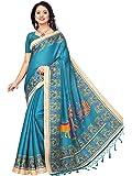 Mrinalika Fashion Women'S Khadi Saree With Blouse Piece (Sky Blue_Free Size)