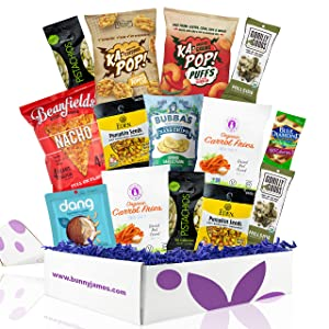 Gluten Free Vegan Chip Box: Variety of Healthy Sweet & Savory Chips – Nuts - Seeds - Fruit Stix - Healthy Vegan Gluten Free Care Package