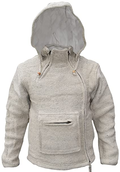 Sudadera con capucha y bolsillo canguro con cremallera, estilo hippy, de lana natural, para invierno, hecha a mano: Amazon.es: Ropa y accesorios