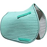 Mint Green All-purpose English Saddle Pad with Black Piping