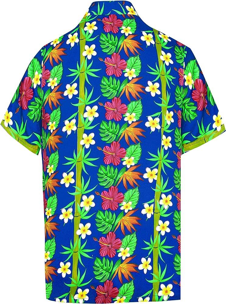 LA LEELA Casual Hawaiana Camisa para Hombre Señores Manga Corta Bolsillo Delantero Surf Palmeras Caballeros Playa Aloha 5XL-(in cms):167-172 Azul_W399: Amazon.es: Ropa y accesorios