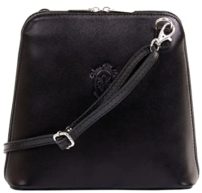 1788b2f764 Primo Sacchi Italian Black Smooth Leather Small Cross Body or Shoulder Bag  Handbag
