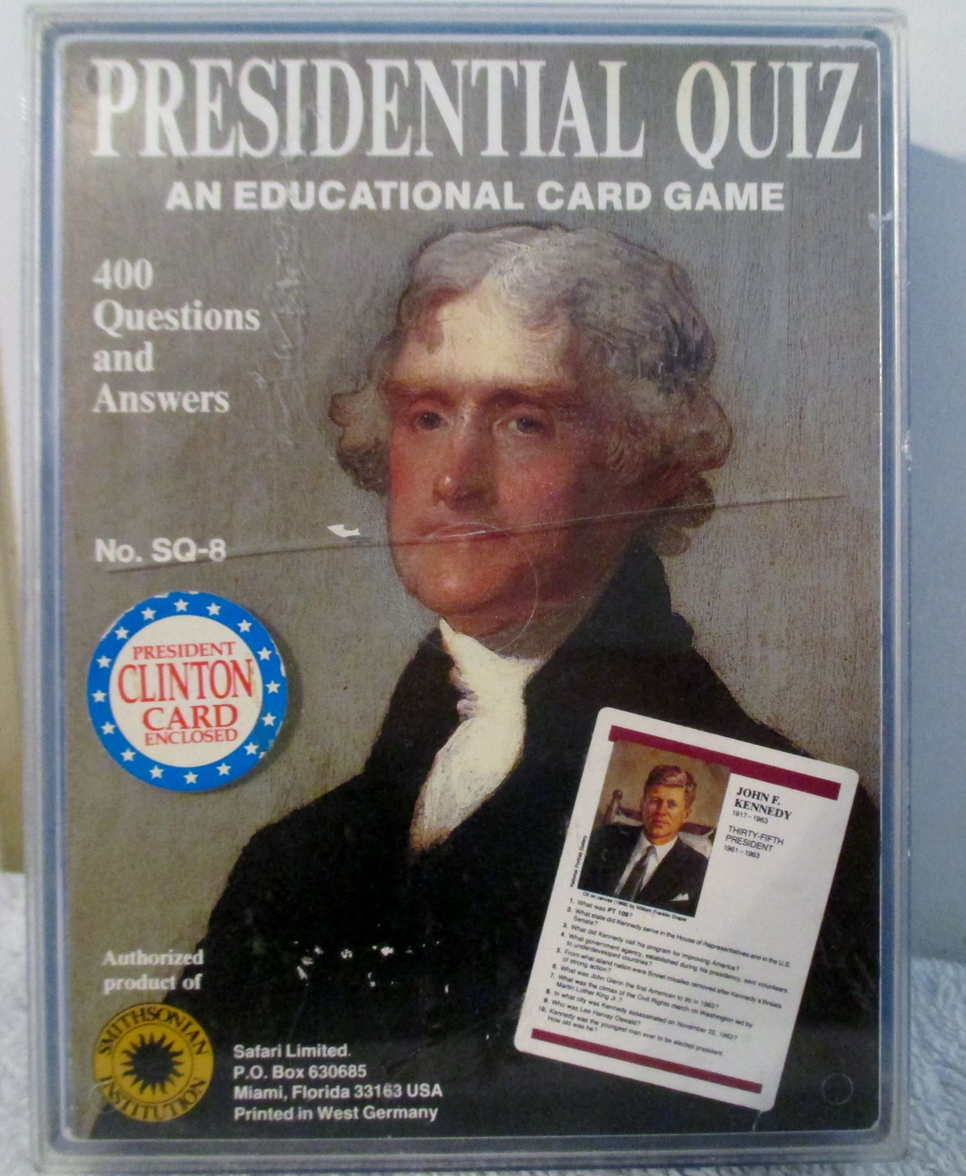 Presidential Quiz , An Educational Card Game , 400 Questions and Answers, # SQ-8 from 1988 Smithsoniam Institution