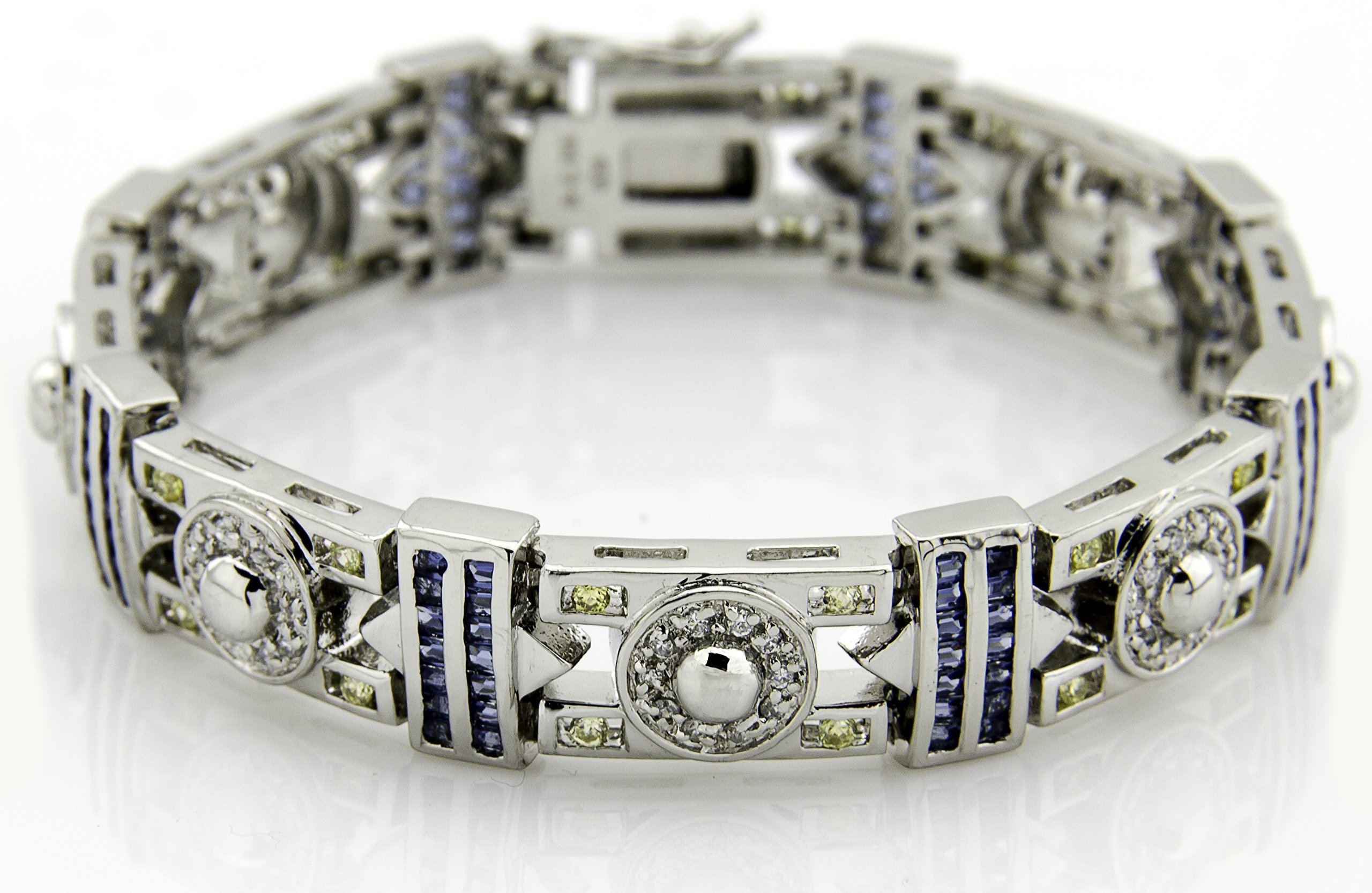 Men's Sterling Silver .925 Original design Bracelet with 140 blue baguette, 40 yellow round, and 100 white round Cubic Zirconia (CZ) Stones and Box Lock, Platinum Plated. Sizes available 8'' 9''