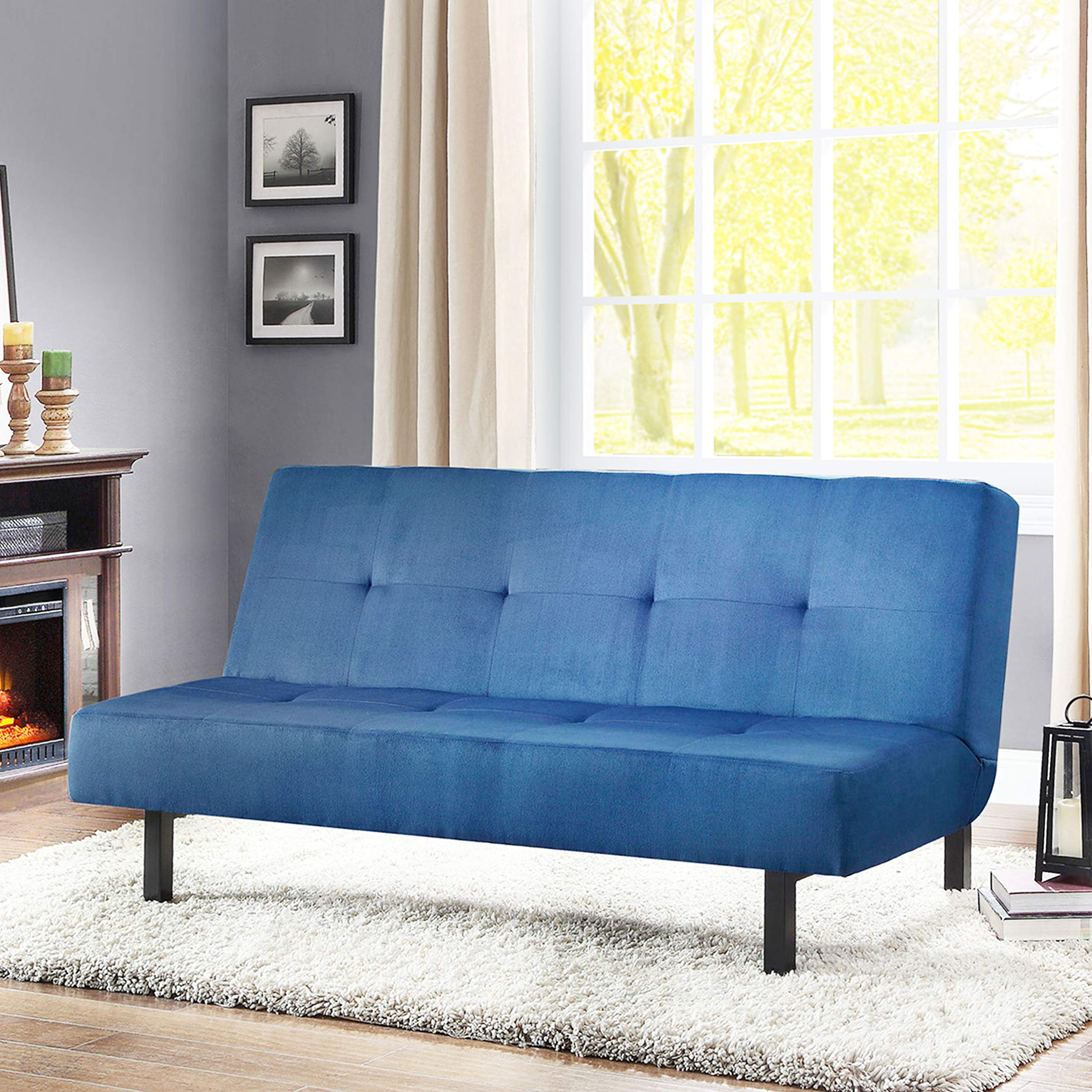 Mainstays 3 Position Tufted Futon, Multiple Colors (Blue) by Mainstays...