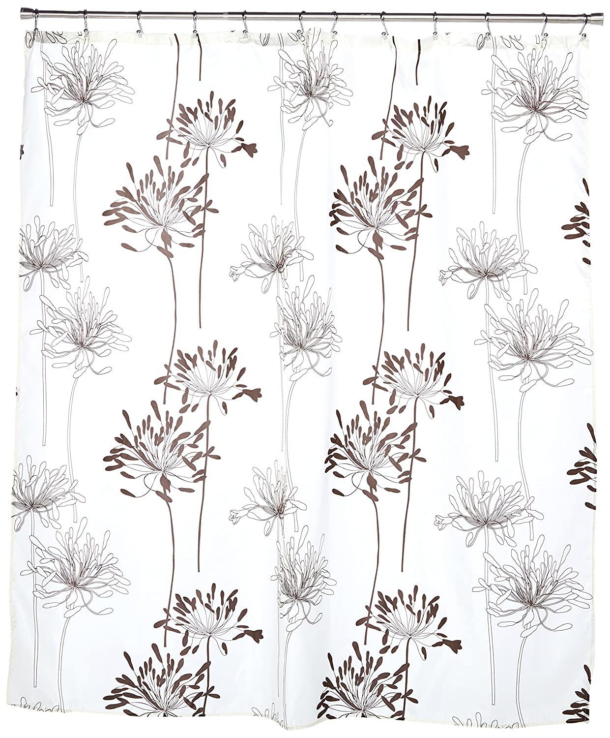 Carnation Home Fashions Cologne 70-Inch by 72-Inch Shower Curtain with Flocking, Indigo and White FSCF-COL/52