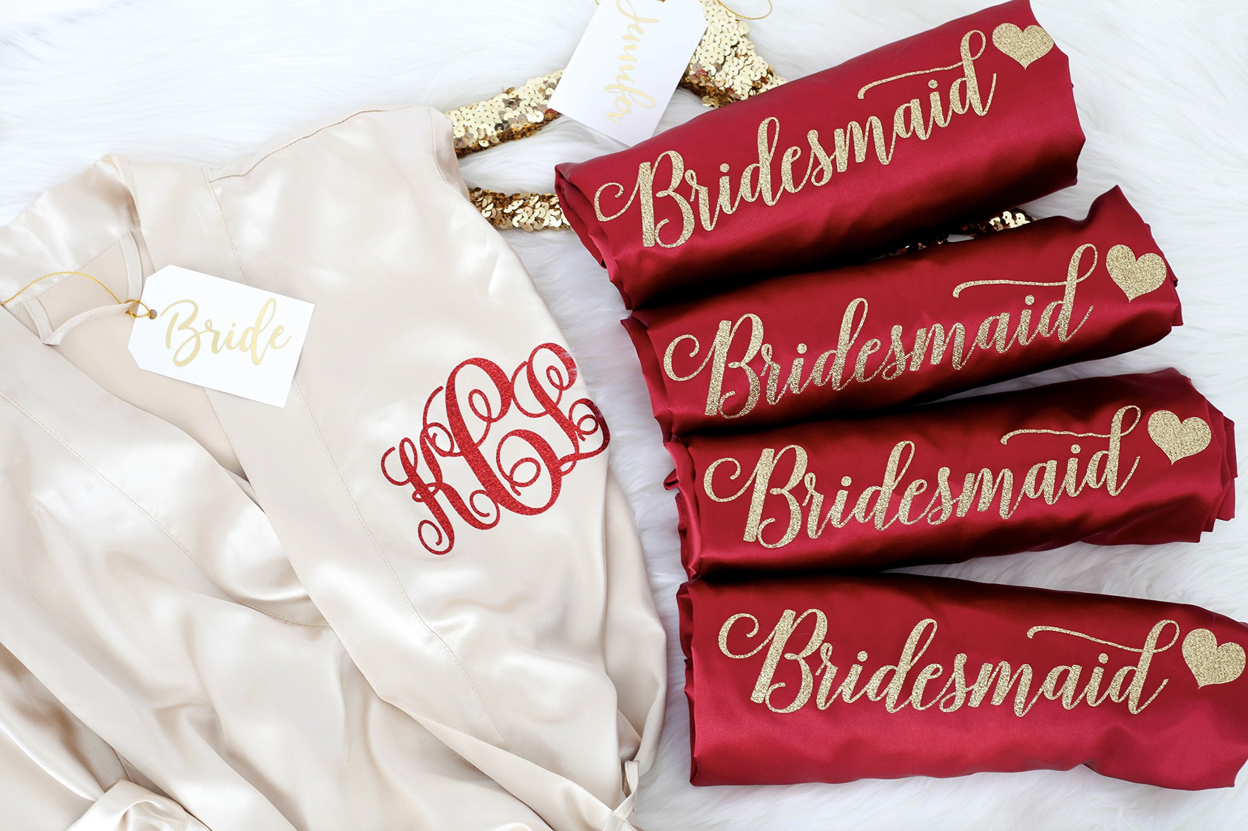 Joy Mabelle Women's Silky Short Kimono Robes SET OF 5 with personalized monogram by Joy Mabelle