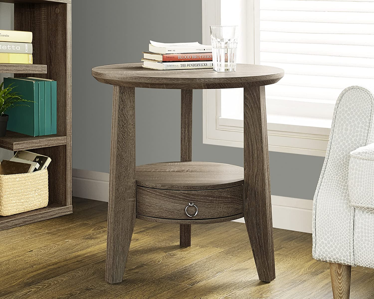 Monarch Specialties Dark Taupe Reclaimed-LookAccent Table/1 Drawer, 23-Inch