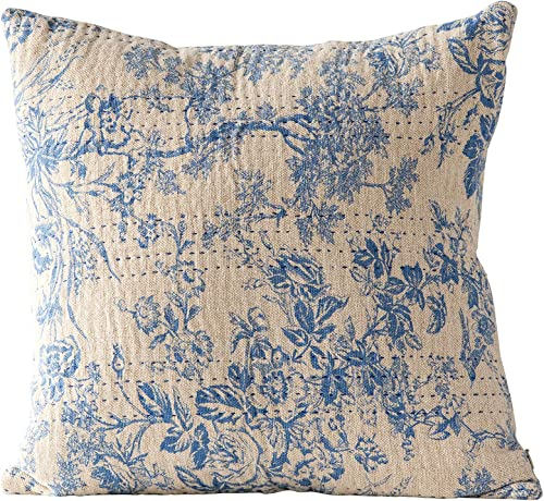 Creative Co-op Blue Square Cotton Chambray Pillow, 18 Inch x 18 Inch