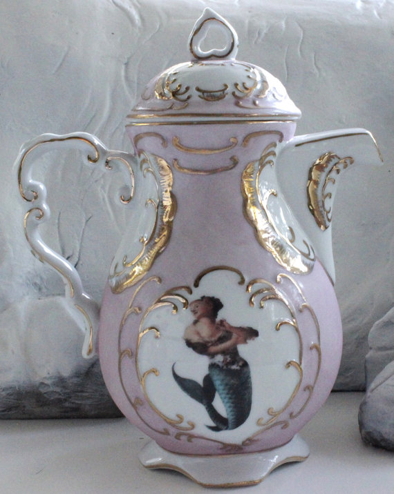 Mermaid Pink or Blue and Gold Customized Tea by AngiolettiDesig​ns