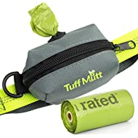 Tuff Mutt Poop Bag Holder Attaches to Dog Leash, Includes 1 Roll of Earth Rated Poop Bags, Waste Bag Dispenser and…