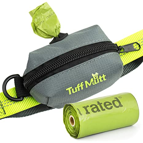 Tuff Mutt Poop Bag Holder Attaches to Dog Leash, Includes 1 Roll of Earth Rated Poop Bags, Waste Bag Dispenser and Lightweight Fabric. Makes a Great ...