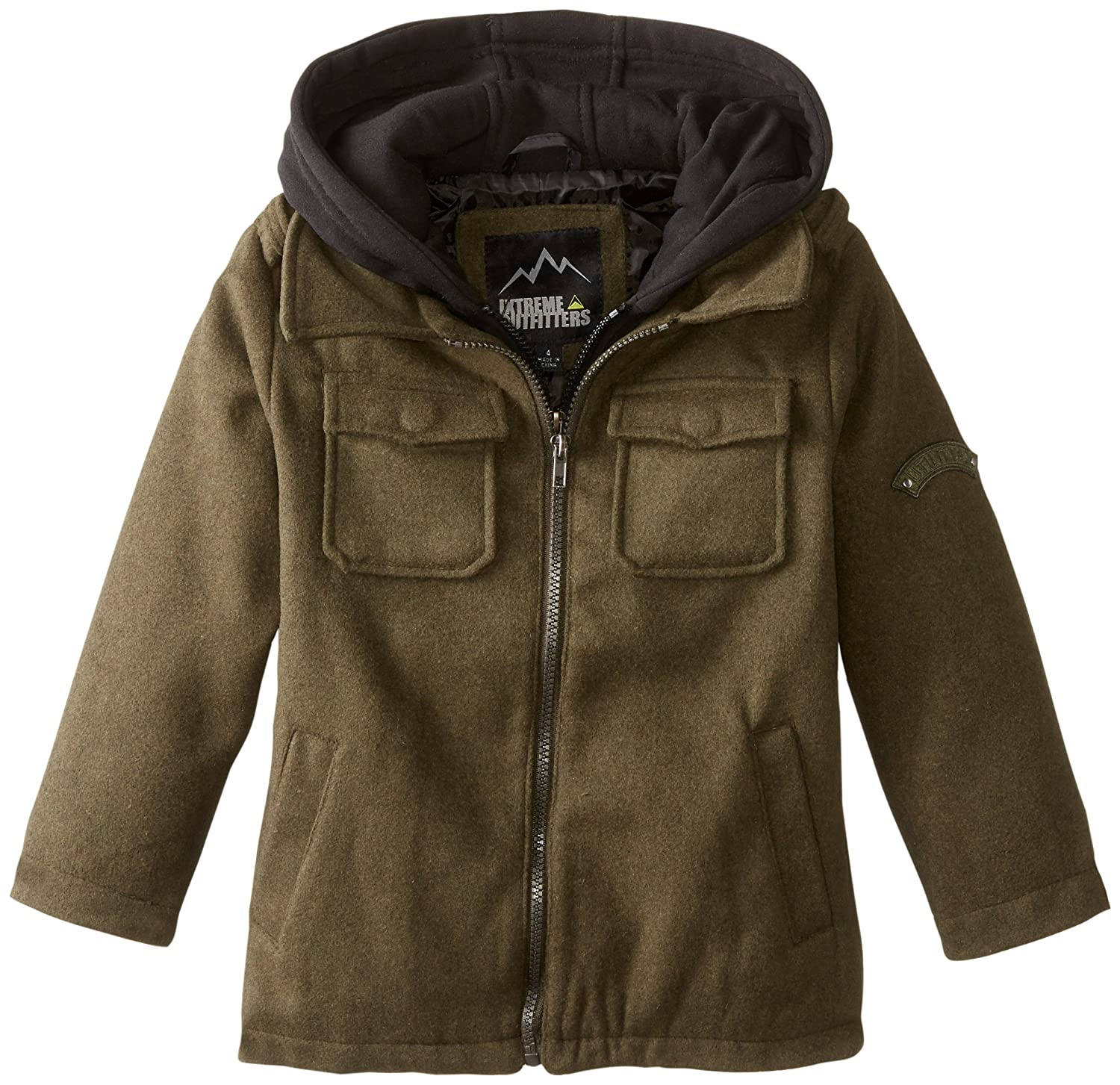 iXtreme Little Boys' Solid Wool Mock 2 In 1 Jacket Olive 6
