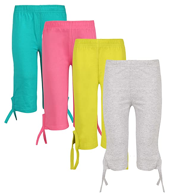 SINIMINI Girls Casual Capri(Pack of 4) Girls' Shorts at amazon