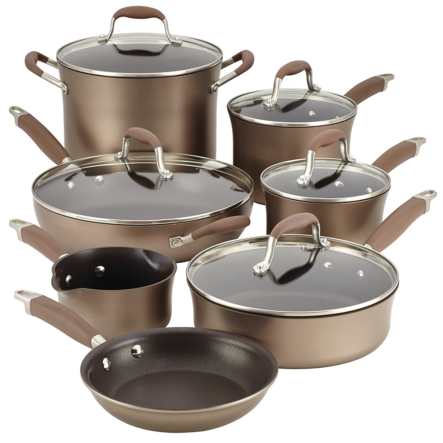 Anolon Advanced Bronze Hard-Anodized Nonstick 12-Piece Cookware Set