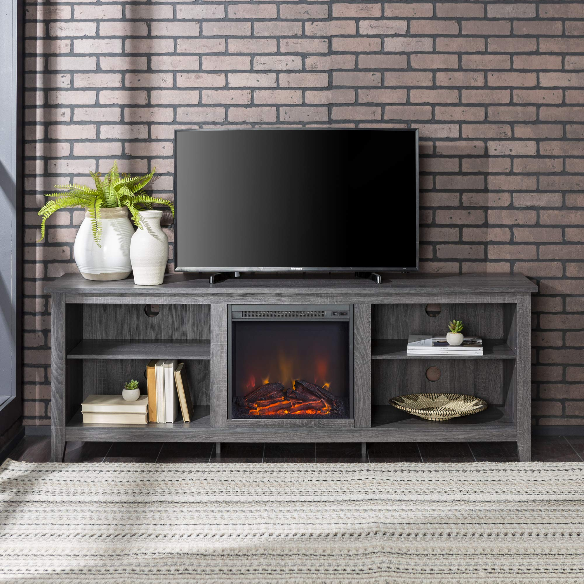 Home Accent Furnishings Lucas 70 Inch Television Stand with Fireplace in Charcoal